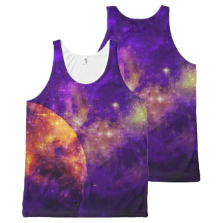 Amethyst Sky, Golden Planet n Nebula Tank Top All-Over Print Tank Top