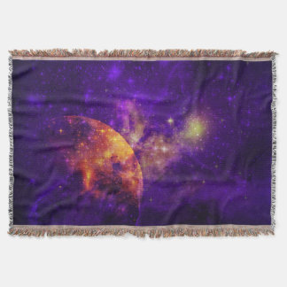 Amethyst Sky, Golden Planet n Nebula Throw Blanket