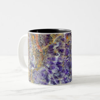 amethyst stone texture pattern rock gem mineral Two-Tone coffee mug