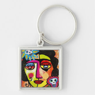 Amethyst Sugar Sull Frida by SilberZweigArts Silver-Colored Square Key Ring