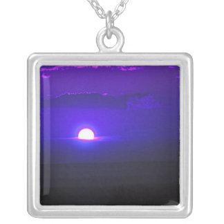 Amethyst Sunset Square Pendant Necklace