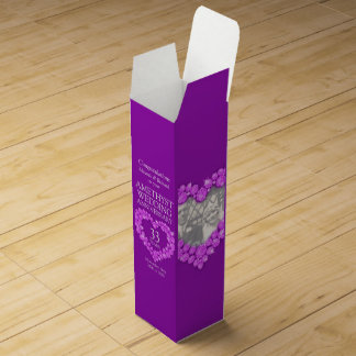 Amethyst wedding anniversary heart photo wine box
