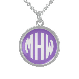 Amethyst White 3 Initials in a Circle Monogram Round Pendant Necklace