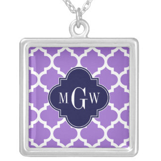 Amethyst White Moroccan #5 Navy 3 Initial Monogram Square Pendant Necklace