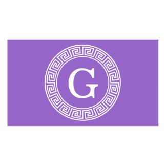 Amethyst Wht Greek Key Rnd Frame Initial Monogram Pack Of Standard Business Cards