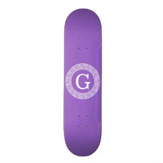 Amethyst Wht Greek Key Rnd Frame Initial Monogram Skateboard