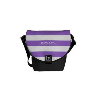 Amethyst Wht Horiz Preppy Stripe #3 Name Monogram Courier Bags