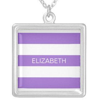 Amethyst Wht Horiz Preppy Stripe #3 Name Monogram Square Pendant Necklace