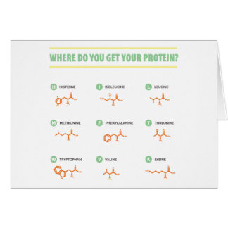 Amino Acids - Where do you get your protein? Card