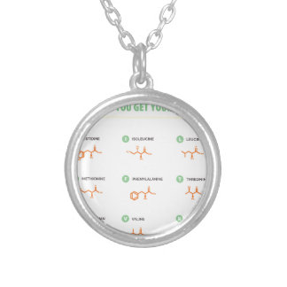 Amino Acids - Where do you get your protein? Silver Plated Necklace