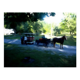 Amish Buggy and Trailer Postcard