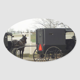 """Amish Buggy """"Parking Lot"""" Oval Sticker"""