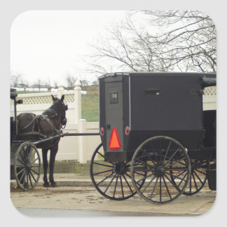 """Amish Buggy """"Parking Lot"""" Square Sticker"""