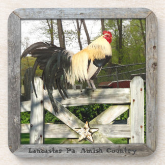 Amish Coasters! 6 Sunset Rooster Lititz Pa. Drink Coaster