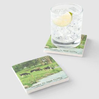 Amish Coasters, Cows at Field Stream. Stone Beverage Coaster