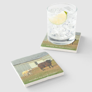 Amish Coasters, Mother Sheep and Twin Lambs! Stone Coaster