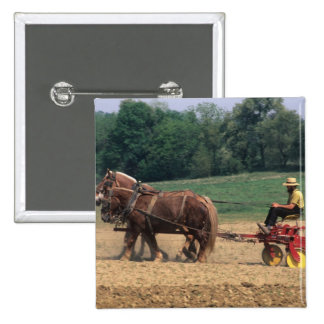 Amish Country simple people in farming with 15 Cm Square Badge