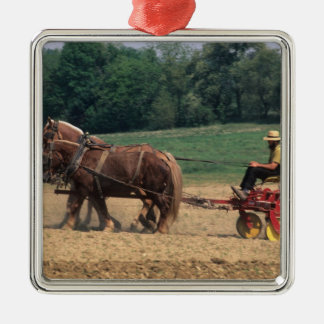 Amish Country simple people in farming with Silver-Colored Square Decoration