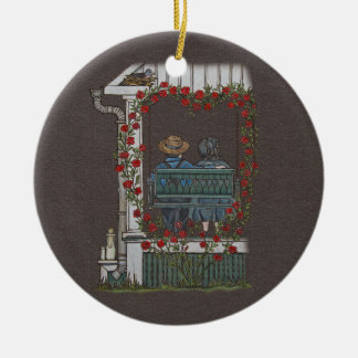 Amish Couple On Porch Swing Ceramic Ornament