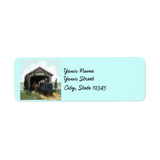 Amish Covered Bridge Return Address Label