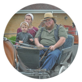 Amish Family In Buggy Dinner Plates