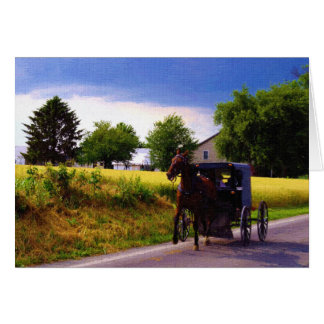 Amish Family Racing the Storm Greeting Card