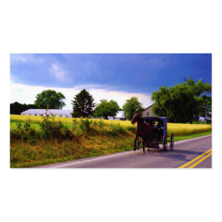 Amish Family Racing the Storm (simulated oil on ca Business Card
