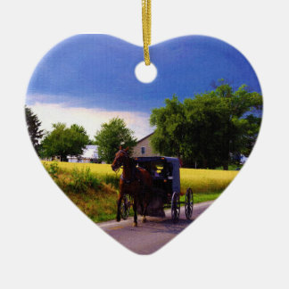 Amish Family Racing the Storm (simulated oil on ca Ceramic Heart Decoration