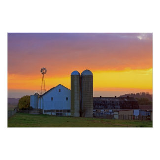 Amish Farm at Sunrise Poster