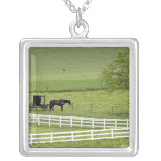 Amish farm with horse and buggy near Berlin, Square Pendant Necklace