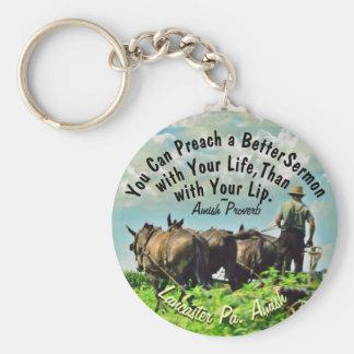 Amish Farmer Keychain!2 Basic Round Button Key Ring