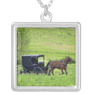 Amish horse and buggy near Berlin, Ohio. Square Pendant Necklace