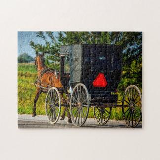 Amish Horse Buggy Indiana. Jigsaw Puzzle