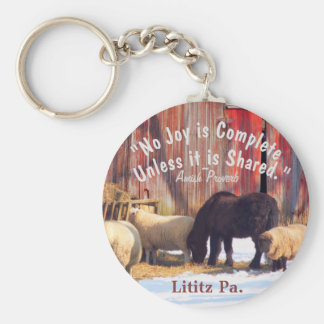 Amish joy Keychain!2 Basic Round Button Key Ring