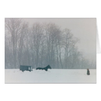 AMISH MAN  HORSE & BUGGY SNOW LANCASTER COUNTY PA GREETING CARDS