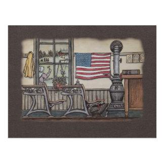 Amish One Room School Room Postcard