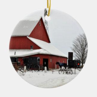 Amish Red Barn Christmas Ornament