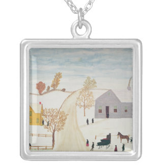 Amish Village Silver Plated Necklace