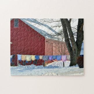 Amish Winter Laundry Jigsaw Puzzle