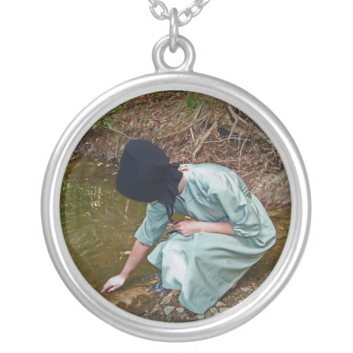 Amish Woman At Wishing Pond Necklaces