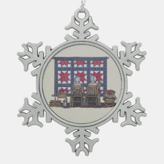 Amish Women Quilting Pewter Snowflake Decoration