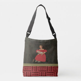 Ammi Phillips Girl in Red with her Cat and Dog1834 Crossbody Bag