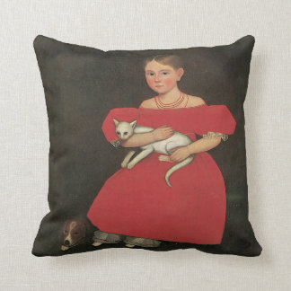 Ammi Phillips Girl in Red with her Cat and Dog1834 Cushion