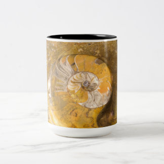 Ammonite & Other Fossils in Rock Two-Tone Coffee Mug