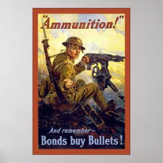 Ammunition!~Vintage World War 1 Poster