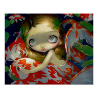 Amongst the Koi ART PRINT fish mermaid big eyes