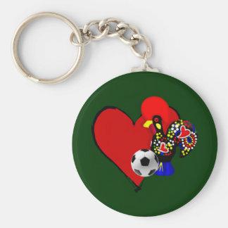Amor, Barcelos, Futebol - Deus é Maravilhoso Basic Round Button Key Ring