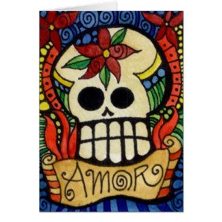 Amor Day of the Dead Sugar Skull Card