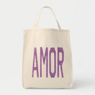 AMOR (Love in Spanish) in Purple Bags