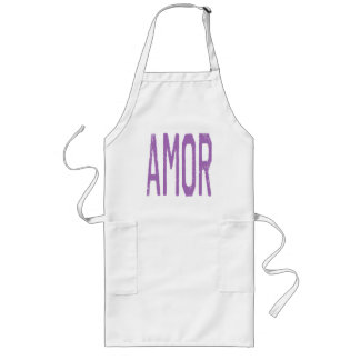 AMOR (Love in Spanish) in Purple Long Apron